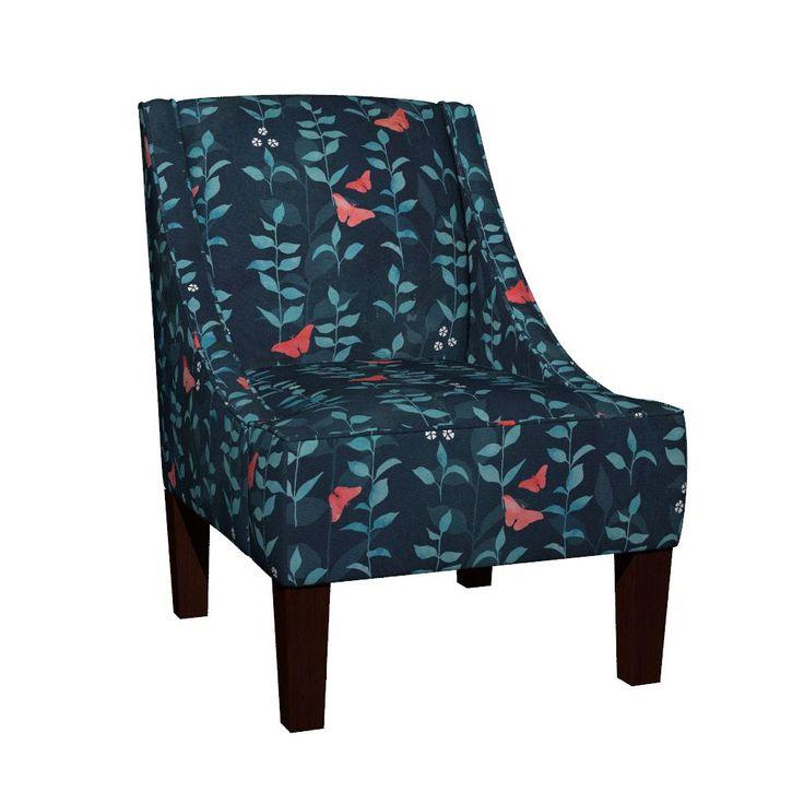 Venda Sloped Arm Chair featuring Midnight garden by adenaj | Roostery Home Decor