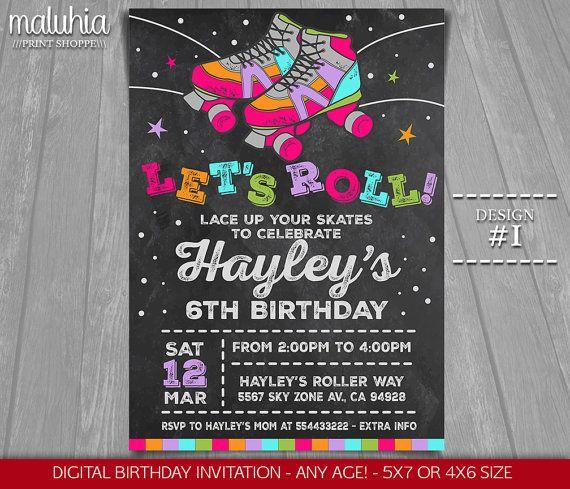 Roller Skating Invitation Roller Skate Party Invitation