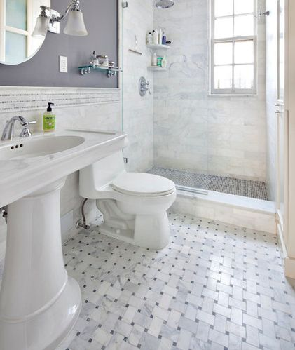 Create this flooring using our $11.75 a sheet Carrara Bianco wide Basketweave with Bardiglio Gray dot Honed also available in Polished