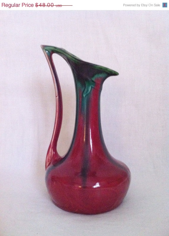 Vintage Art Nouveau Oxblood Red and Green Drip Glazed by Comforte, $43.20