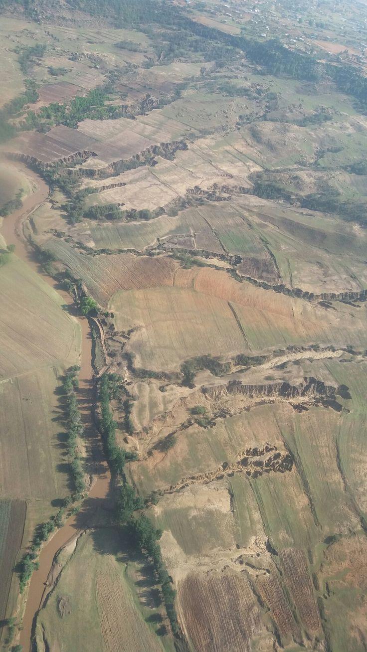 Flying over Maseru, Lesotho