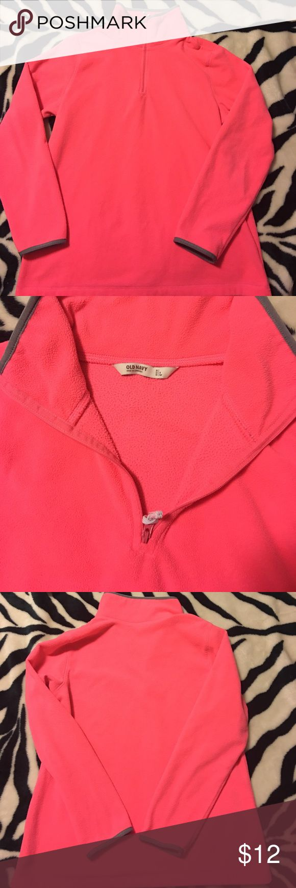 🔥PRICE DROPPED ⬇️HOT PINK sweatshirt💕 This is a VERY hot pink old navy sweatshirt. Has Little gray trim around the collar and sleeves. Zips up the neck very comfortable and still has a lot  of color. Hadn't been worn much at all... Old Navy Tops Sweatshirts & Hoodies