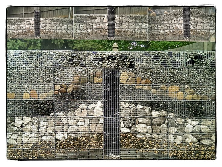 Gabion wall being built and finished