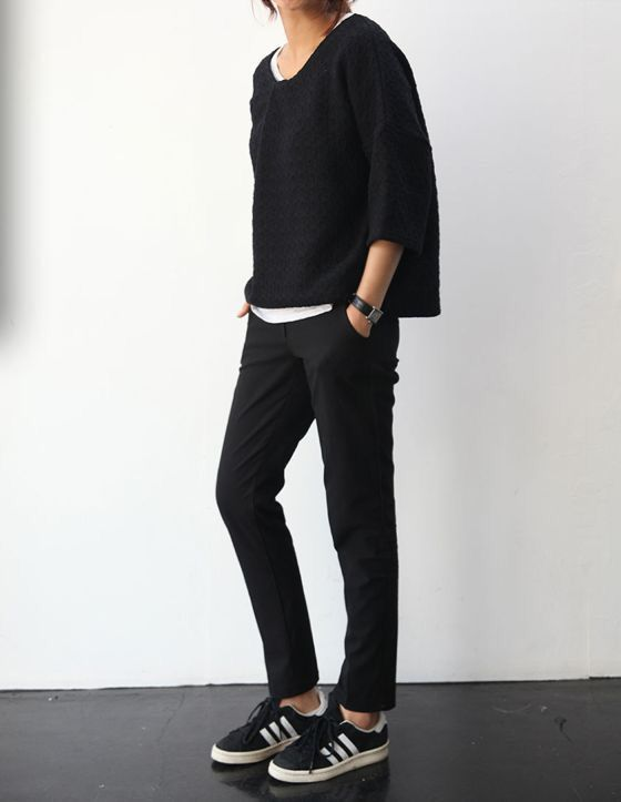 Black knit sweater + black slacks + black Adidas with white stripes.