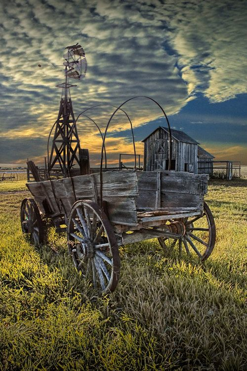 Covered Wagon, Windmill and Barn on the Prairie in 1880 Town Frontier Museum South Dakota No.32357- A Pioneer Farm Landscape Photograph