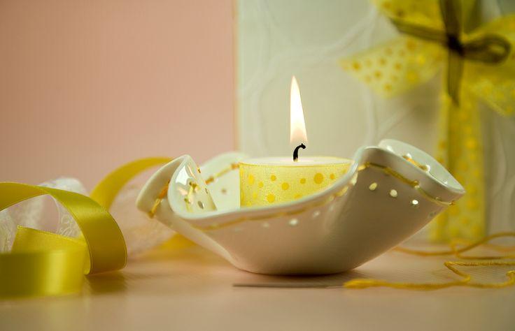 Porta candela/porta oggetti in ceramica
