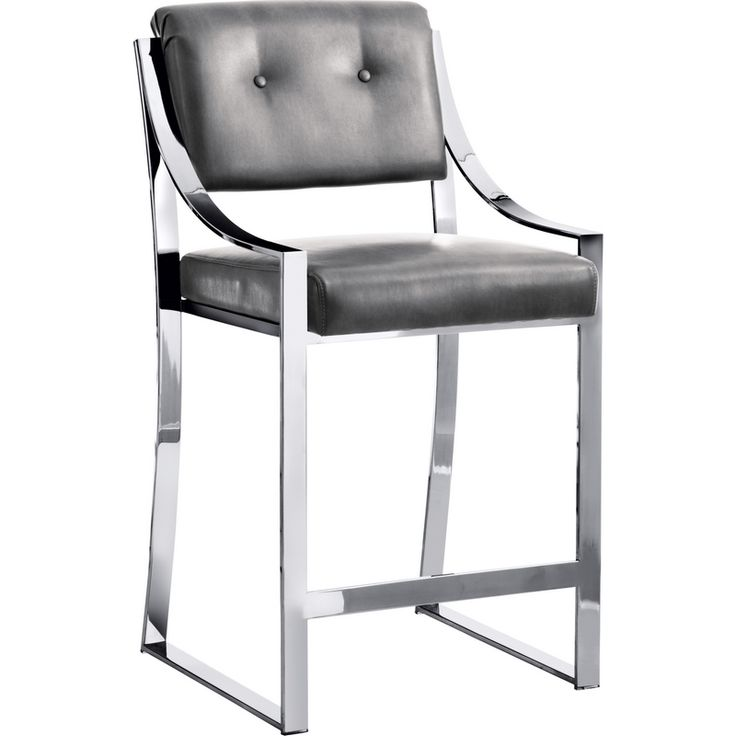 Sunpan Savoy Counter Height Stool In Grey Leather W