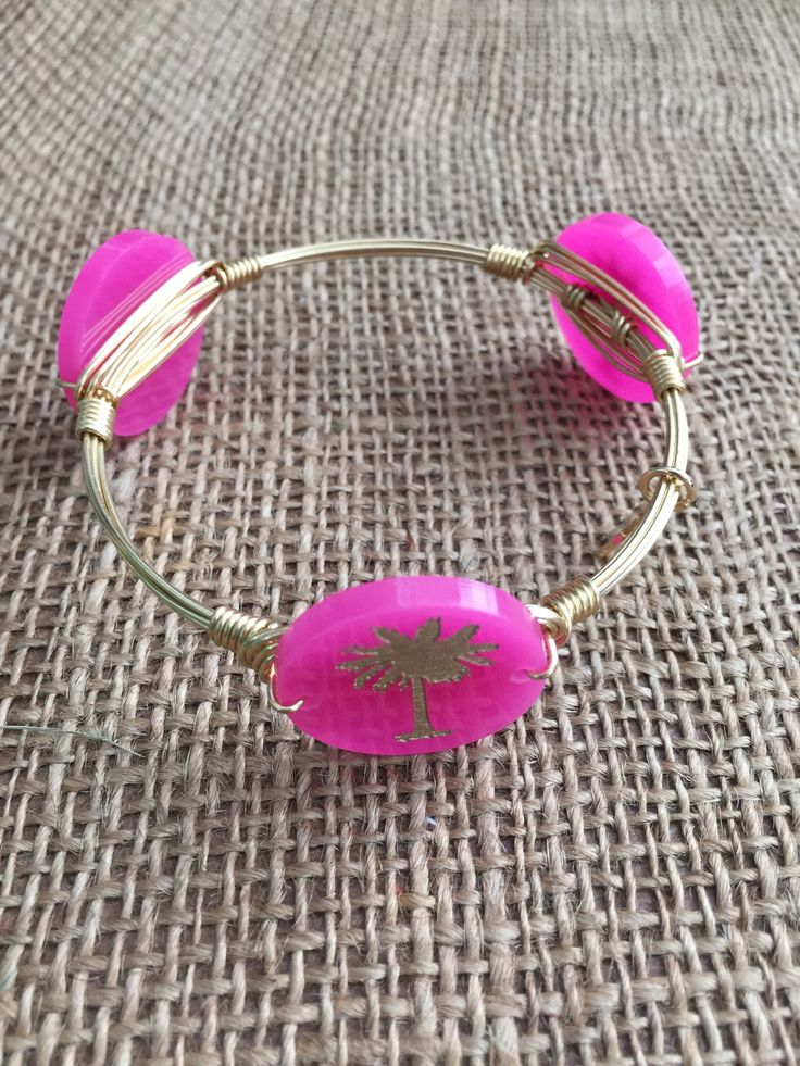 Bourbon and Boweties Moon and Lola Gold Palm Tree on Hot Pink Large Bangle