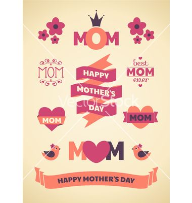 Mothers day design elements vector on VectorStock®
