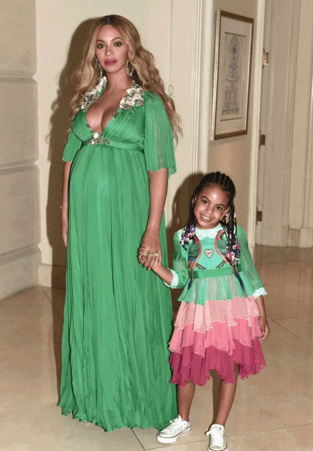 Beyoncé and Blue Ivy pose in Gucci for the premiere of Beauty and the Beast (Photo courtesy of Beyonce.com) | How gorgeously beautiful they both are. GOD BLESS THEM - ALL FOUR!