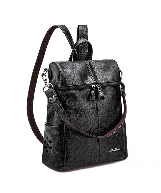 Women Girls Korean Campus Fashion Soft Skin Leather Backpack Tote Bag  Shoulder Handbag - Black - CH12N7VBSK5  Bags  Handbags  Backpacks  gifts   Style ac2648ad3e9b4
