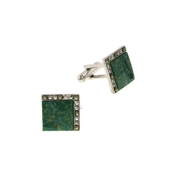 1928 Jewellery - Boxed Silver Tone Green Jade Square Cuff Links