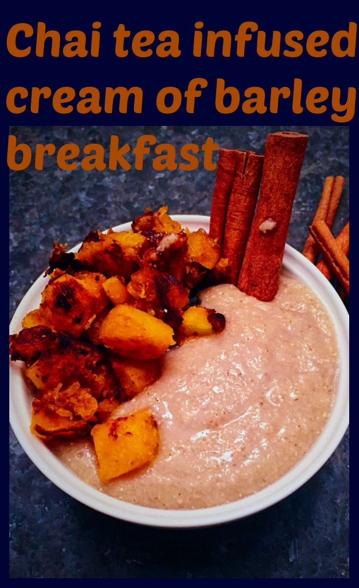 Glorious fall #breakfast of chai tea infused cream of barley with caramelized butternut squash.  #breakfast