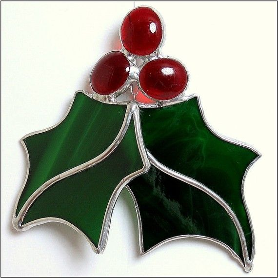 Holly Berry Stained Glass Ornament