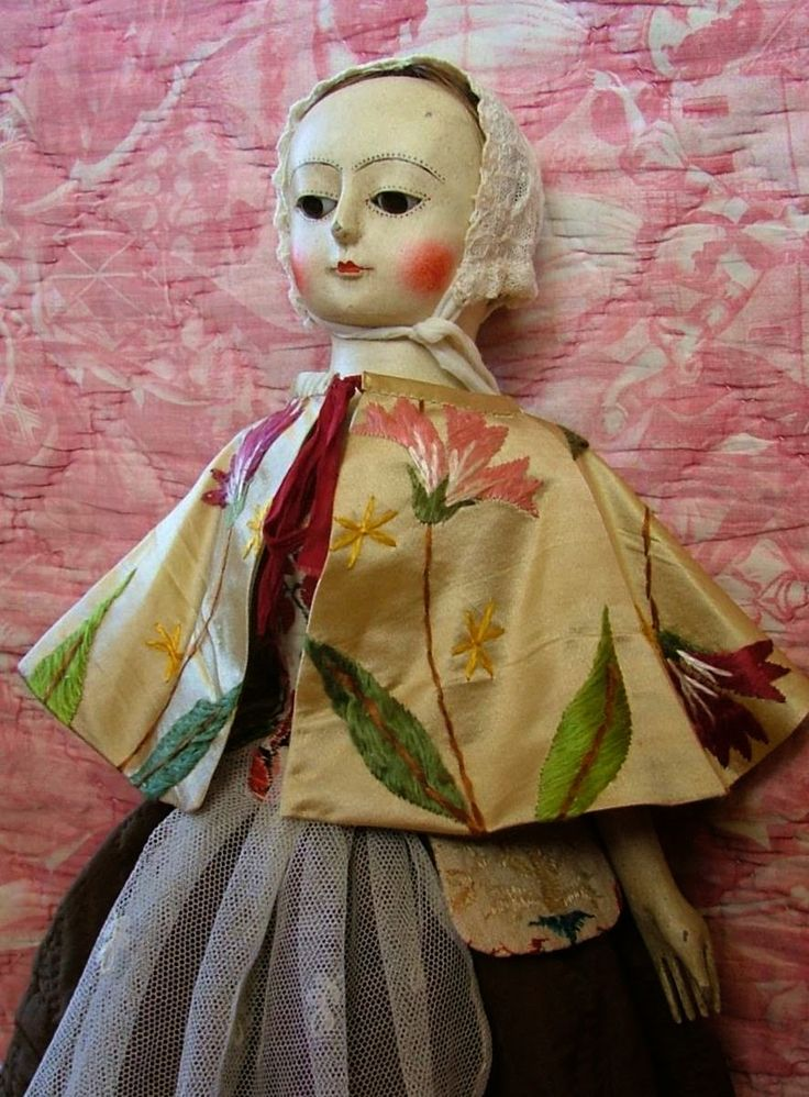 """Reproduction English Wooden Queen Anne Dolls : Aurora, 16"""" Queen Anne Wooden Doll.....AVAILABLE"""