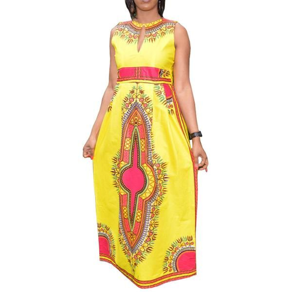 New Women Summer Maxi Dress Sexy Sleeveless Tribal African Floral Print Long Dresses  Ladies Dashiki Dress Robe 10683