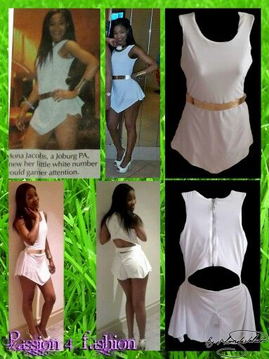 Joined top and shorts with an overlay creating a short dress effect. Skirt effect at the back.  Worn at the MAMA Awards in durban. And ended up on newspaper #mariselaveludo #fashion #smartcasualwear #white #sexy #passion4fashion