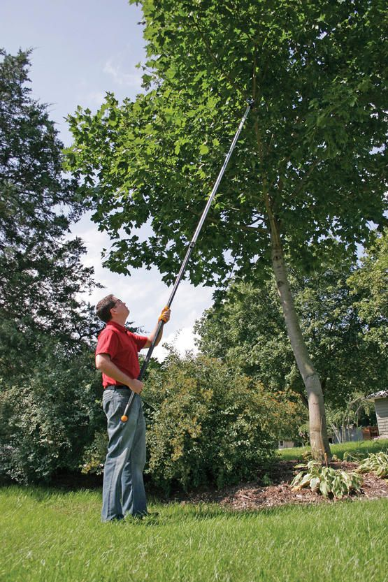 Looking for a gift for a yardcare enthusiast? The versatile tree pruner is rope-free for two-handed control and extends up to 12' to take down high branches without a ladder.
