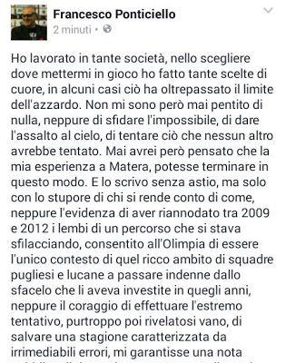 "SerieA2Italia: LO SFOGO DI COACH PONTICIELLO: ""DALL'OLIMPIA NEANC..."