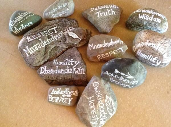 Check out the 7 Grandfather teaching painted on rocks by @JodyCotter1 and UOI's HIV/AIDS program.