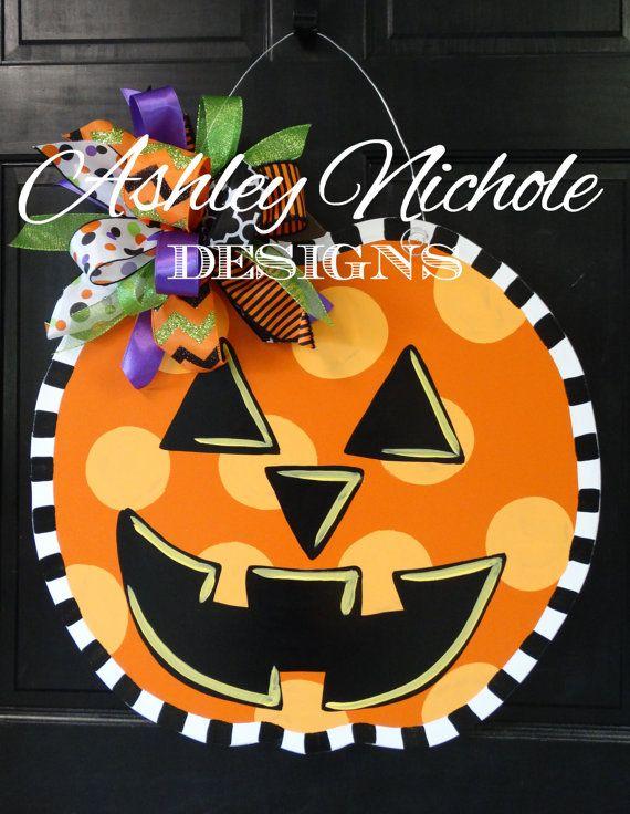 SHIPS NOW Jack-O-Lantern Pumpkin Door by DesignsAshleyNichole