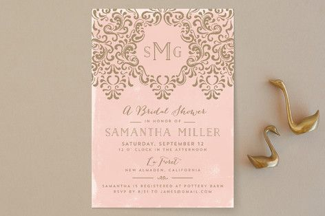 """Wedding Monogram"" - Elegant Bridal Shower Invitations in Ocean by Chris Griffith."