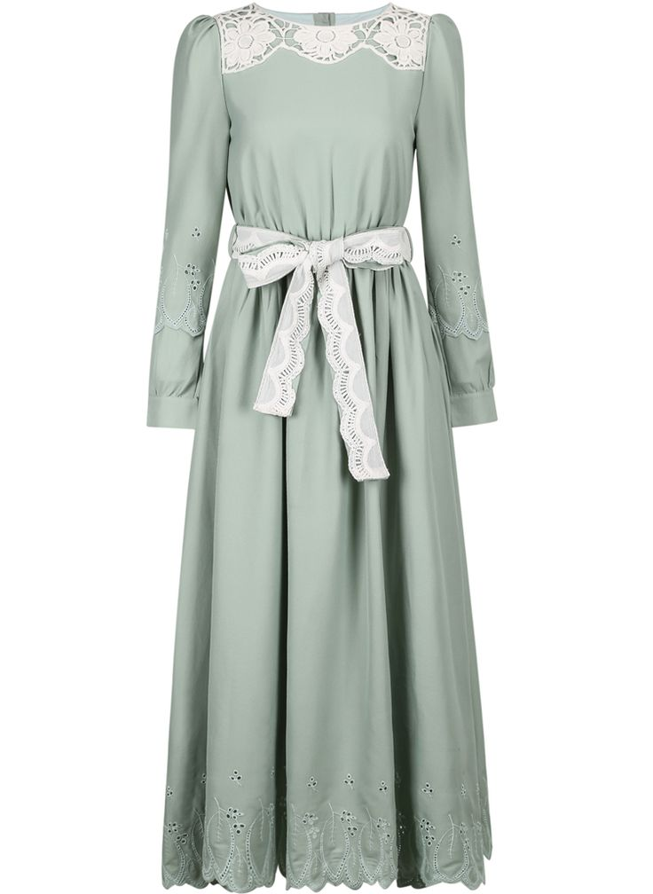 Green Long Sleeve Embroidered Belt Dress - Sheinside.com