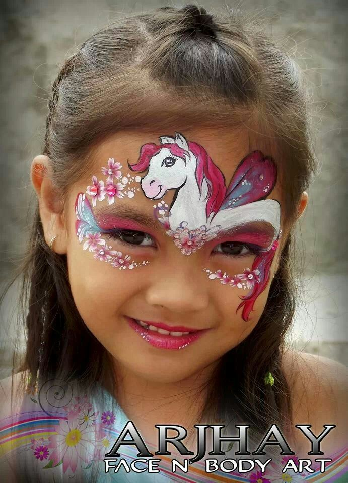Perfect!  He has the face shape, the eye, and the slightly darker muzzle just right!   Arjhay face paint Pony