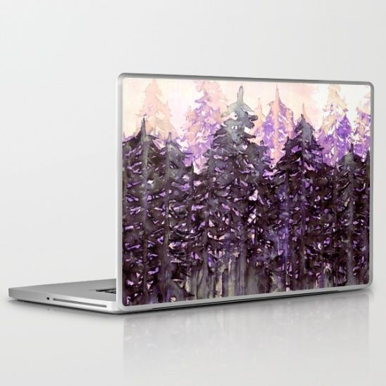 NORTHWEST VIBES Colorful Watercolor Painting Forest Trees Violet Green Modern Nature Art West Coast Laptop Macbook Tech Skin Vinyl Decal by Ebi Emporium Artist of Ebi Emporium, #watercolor #painting #purple #trees #forest #art #design #chic #office #pnw #pacificnorthwest #portland #seattle #vancouver #skin #decal