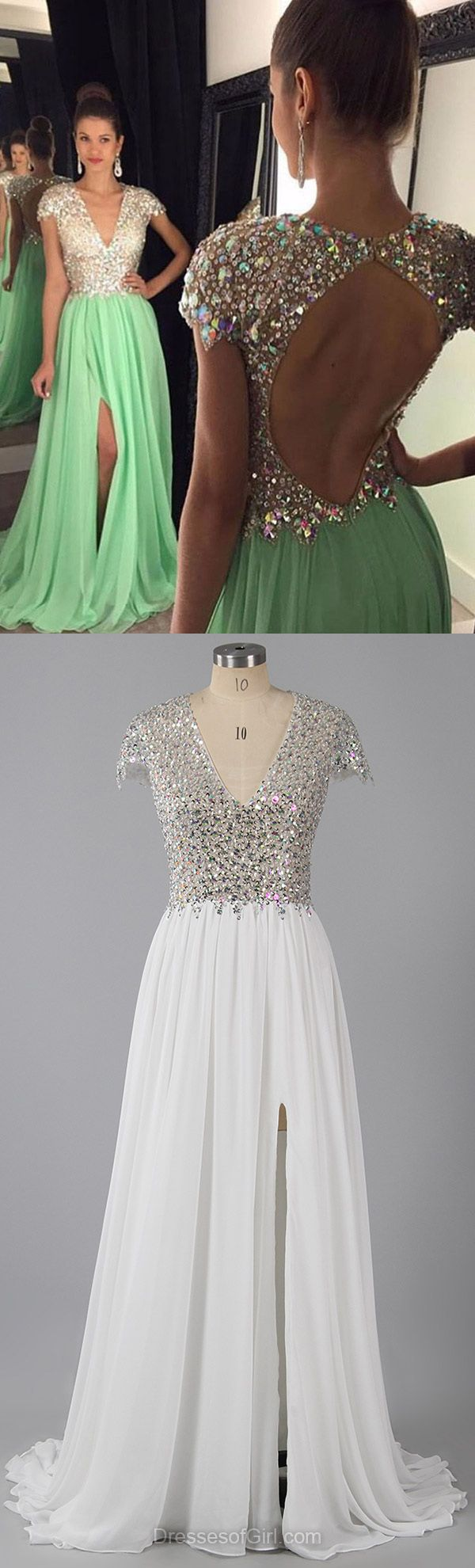 Open Back V-neck Chiffon Tulle Sweep Train Split Front Prom Dresses