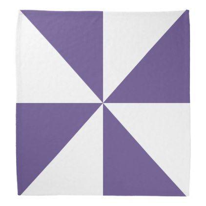 White and Ultra Violet Triangle Pinwheel Pattern Bandana - pattern sample design template diy cyo customize