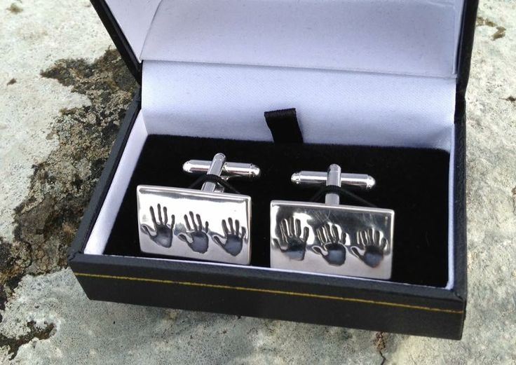 3 siblings hands prints set in silver cuff links