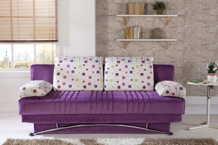 Stunning Purple Sofa Design Ideas : Modern Purple Sofa Design With Polka Dot Cushion