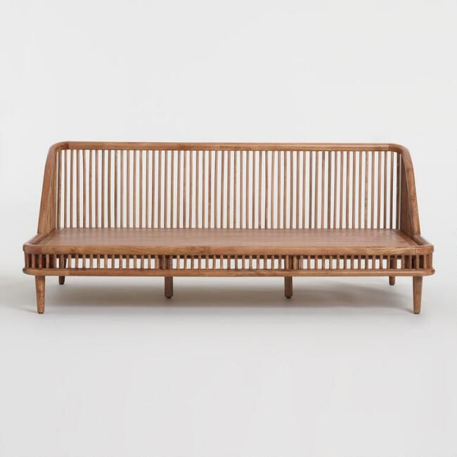 Warm Brown Mango Wood Nadya Daybed V2 Wood Daybed Brown Living Room Decor Wicker Daybed