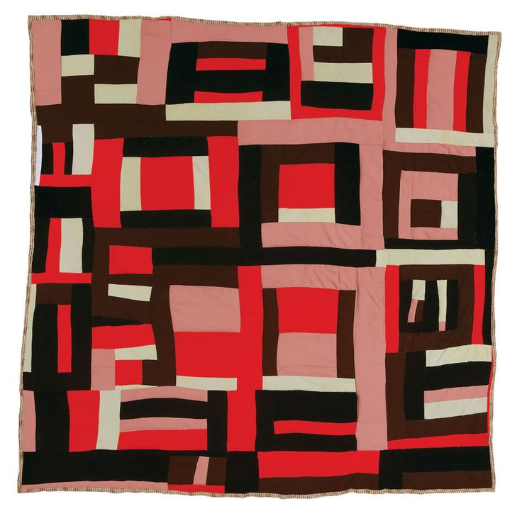 "Mary Lee Bendolph, born 1935. ""Housetop"" variation, 1998; quilted by her daughter, Essie bendolph Pettway, in 2001, cotton, corduroy, twill, assorted polyesters, 72 x 76 inches."