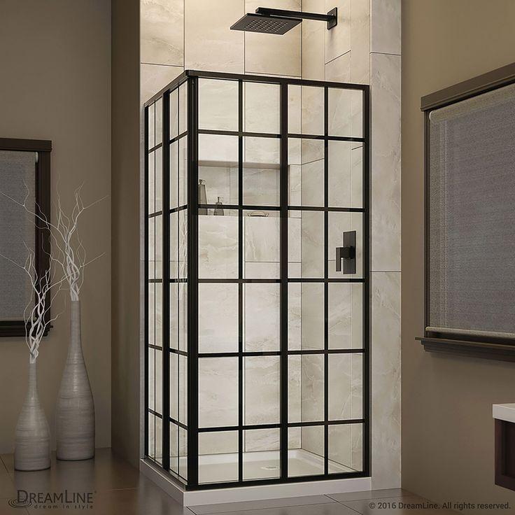 french corner 345in to 345in framed satin black sliding shower door