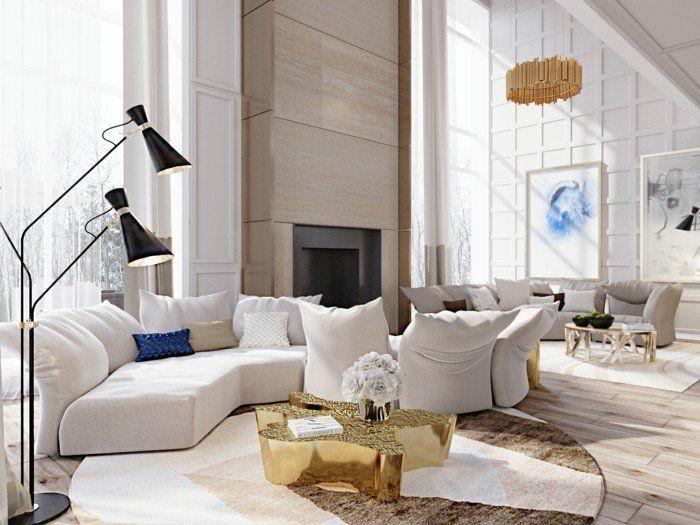 Schönes Wohnzimmer Modern Weiße Möbel Runder Teppich Cooler Couchtisch
