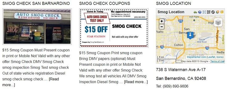 Auto Smog Check Test Only is smog STAR Station offering Smog Test, smog inspection, Smog check, smog check Out of state vehicle registration, Diesel smog check, smog check, Registration renewal smog check, Gross polluter certification, Change of ownership smog test, DMV Registration and smog check coupons. --> http://sanbernardinosmog.com/