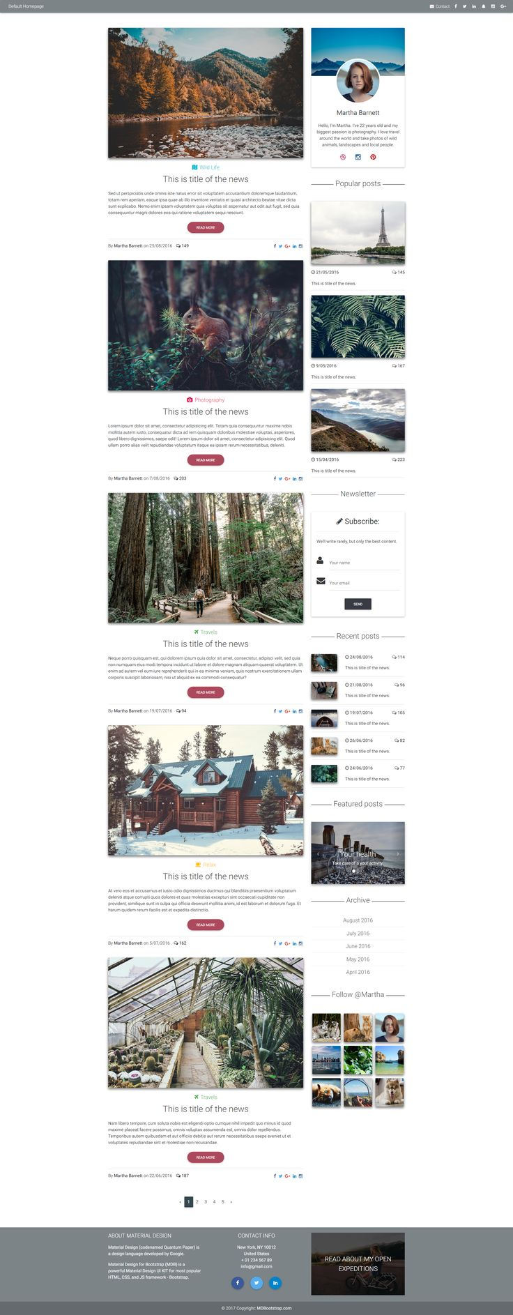 Blog Home Page template created with Material Design.