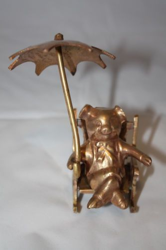 CUTE LITTLE PIG IN ROCKING CHAIR WITH UMBRELLA SOLID BRASS NICE GIFT