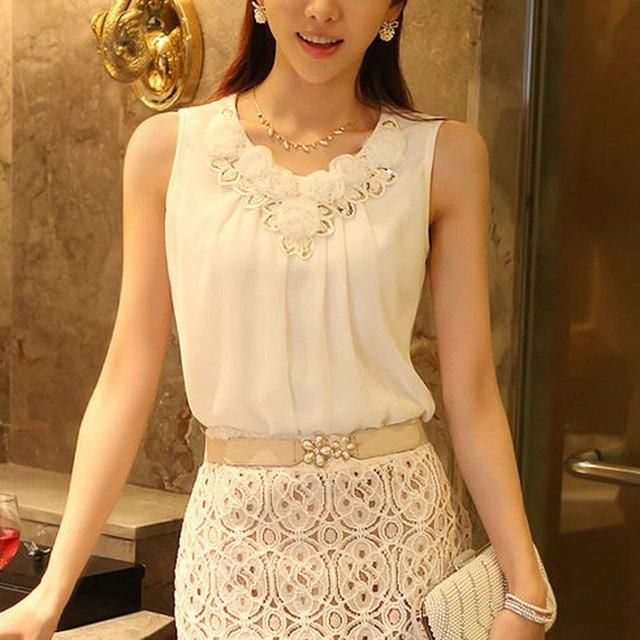 6Xl Summer Tops Women Blouses 2018 Sleeveless Blusas Chemise Femme Chiffon Blouse Camisetas Mujer Plus Size Clothing white 006 X
