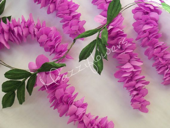 Bridal garland,wedding garland,paper flower, garland paper flowers, garland of flowers wisteria, lilac-colored, is made of high quality crepe, color