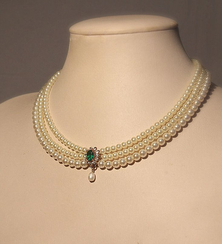 Wedding Necklace ,Bridal,Choker, Pearls, Rhinestone,Zirconium, Emerald Green Stone, Statement ,Vintage Jewelry, Lady D, Triple Pearls Row. $129.00, via Etsy.