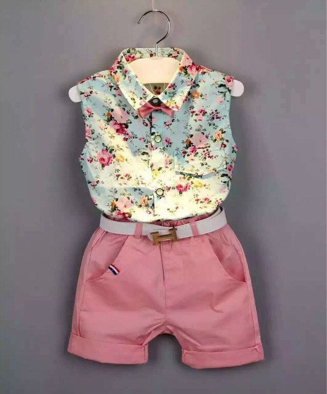 Girls' Sleeveless Floral Print Shirt and Short Set