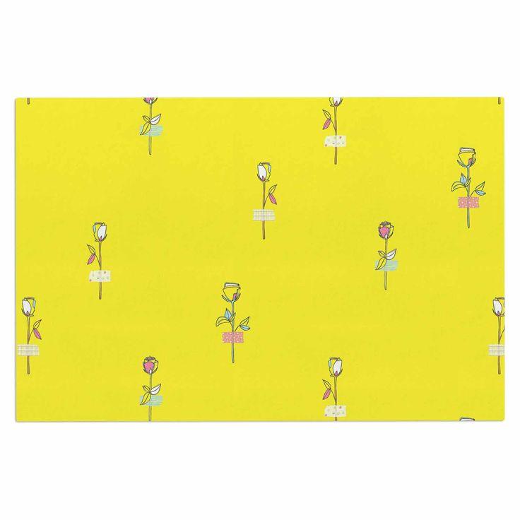 "MaJoBV ""Rosewall / Yellow"" Floral Pattern Decorative Door Mat"
