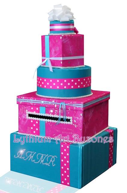 Buzón de Regalos Turquesa & Fucsia para 15 Años/Card Box Sweet 16  Design by: Yil Siritt