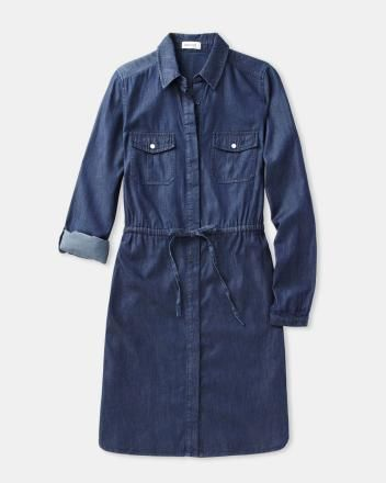 Fitted denim dress with 3/4 sleeve