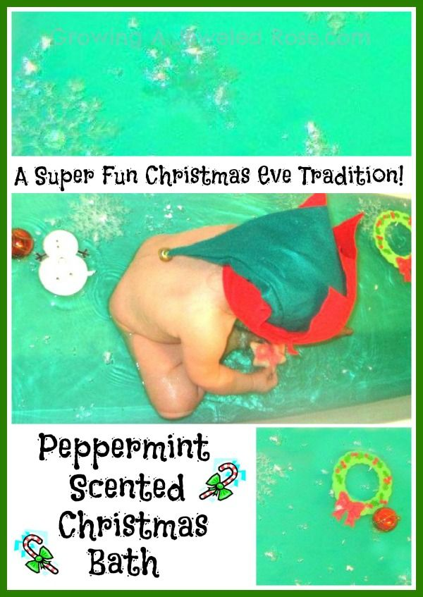 Peppermint Scented Christmas Bath- a fun Christmas Eve  tradition we started for our girls last year!