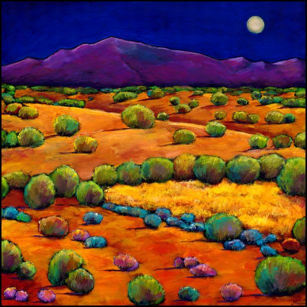 by Johnathan Harris.   Feeling the chill of the New Mexico desert after sunset. Sagebrush, cactus and Santa Fe Mountains under moonrise.