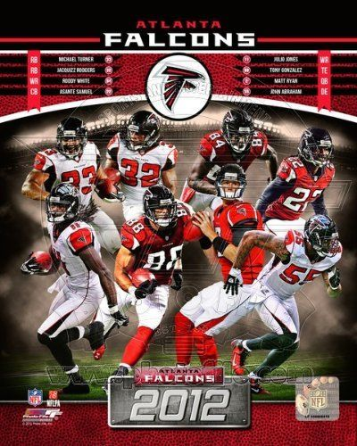 Atlanta Falcons 2012 NFL Team Composite Photo 8x10 by Photo File. Save 46 Off!. $6.99. Custom cropped on high gloss photographic paper, this officially licensed 8x10 composite color photo celebrates the 2012 Atlanta Falcons with action photos of Matt Ryan, Julio Jones, Roddy White, Tony Gonzalez, John Abraham, Asante Samuel, Jacquizz Rodgers, Jason Snelling, and Michael Turner.  Official Falcons, NFL and NFLPA Logos as well as numbered Official NFL Licensing Hologram appear upon...
